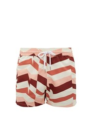 Frescobol Carioca Geometric Stripe Print Swim Shorts Cream Multi