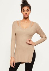 Missguided Camel V Neck Ribbed Knitted Tunic Top