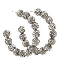 Lele Sadoughi Stardust Crystal Hoop Earrings Silver