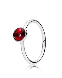 Pandora Design Ring Sterling Silver And Glass July Birthstone Droplet