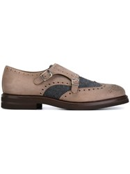 Brunello Cucinelli Monk Strap Brogue Detail Shoes Nude And Neutrals