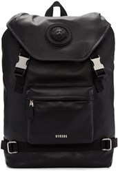 Versus Black Leather Buckled Backpack