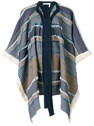 See By Chloe Oversized Draped Patterned Coat Blue