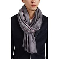 Colombo Pinstriped Cashmere Silk Flannel Scarf Violet