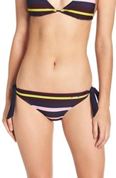 Ted Baker Women's London 'Modern Stripe' Side Tie Bikini Bottoms Navy