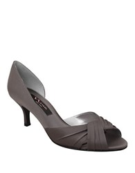Nina Culver Satin Open Toe Pumps Steel