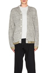 Comme Des Garcons Shirt Knit Cardigan With Lurex Bottom In Gray