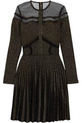 Elie Saab Tulle Paneled Metallic Ribbed Knit Mini Dress Black