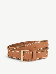 Zadig And Voltaire Starlight Studded Leather Belt Camel