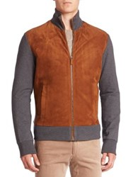 Ralph Lauren Purple Label Colorblock Suede Blend Jacket Brown Grey