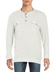 Vince Long Sleeve Two Pocket Henley Heather White
