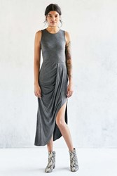 Silence And Noise Draped Side Knit Maxi Dress Dark Grey