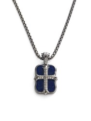 Stephen Webster Mini Gothic Cross Pendant Silver Blue