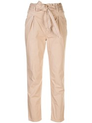 Sundry Slim Fit Paperbag Trousers Neutrals