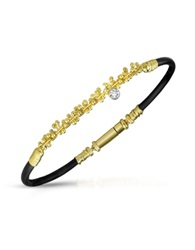 Orlando Orlandini Central Diamond 18K Gold And Rubber Bracelet