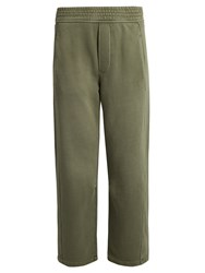 Current Elliott The Barrel Wide Leg Cropped Cotton Track Pants Khaki
