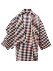 J.W.Anderson Jw Anderson Draped Panel Checked Wool Blend Coat Multi