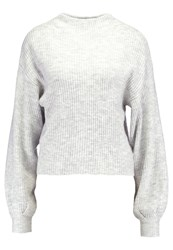 New Look Ribbed Balloon Sleeve Jumper Light Grey