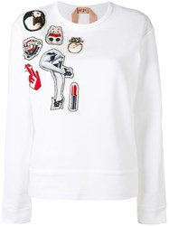 N 21 No21 Multiple Patches Sweatshirt White