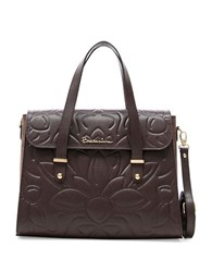 Braccialini Silvia Boston Suede And Saffiano Leather Satchel Bag Brown