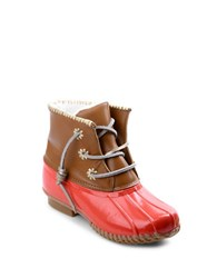 Jack Rogers Chloe Classic Fleece Lined Leather Duck Boots Fire Coral
