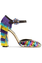 Dolce And Gabbana Embellished Leather Mary Jane Pumps Purple
