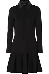 Belstaff Wardour Leather Trimmed Stretch Wool Blend Dress Black
