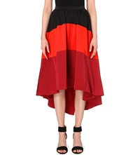 Karen Millen Striped Asymmetric Maxi Skirt Red
