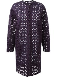 Msgm Crochet Coat Pink And Purple