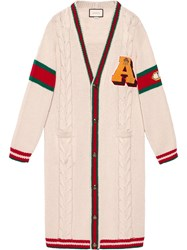 Gucci Embroidered Chunky Cable Knit Cardigan White