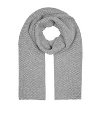 William Sharp Fur Trim Waffle Knit Wrap Grey