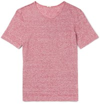 Massimo Alba Striped Slub Linen Jersey T Shirt Red
