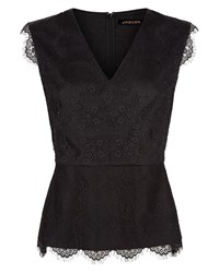 Jaeger Scalloped Lace Top Black