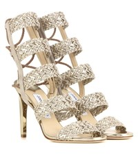 Jimmy Choo Lima 100 Suede And Metallic Leather Sandals Beige