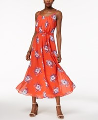 Robbie Bee Petite Belted Floral Print Maxi Dress Red