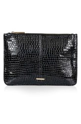 Topshop 'Castle' Croc Embossed Clutch