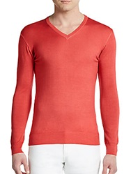 Sand Wool V Neck Sweater Red