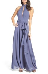 Lulus Women's Ruffle Neck Halter Gown Denim Blue
