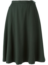 Yves Saint Laurent Vintage A Line Midi Skirt Green