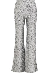 Halpern Sequined Tulle Flared Pants Silver