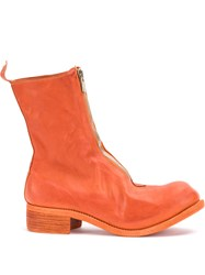 Guidi Front Zip Boots Leather Yellow Orange