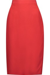 Tomas Maier Wrap Effect Silk Crepe De Chine Skirt Red