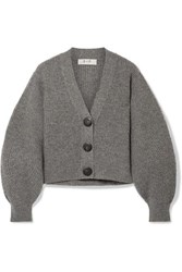 Sea Nellie Ribbed Wool Cardigan Gray