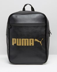 Puma Leather Look Backpack With Gold Logo Black