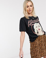Daisy Street Relaxed T Shirt With Blondie Print Black