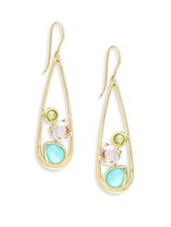 Ippolita 18K Rock Candy Semi Precious Multi Stone Medium Frame Earrings Gold Multi