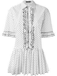 Dolce And Gabbana Polka Dot Shirt Dress White
