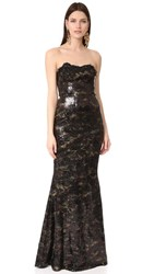 Marchesa Notte Stretch Print Sequin Gown Black