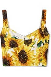 Dolce And Gabbana Cropped Floral Print Cady Bustier Top Ivory