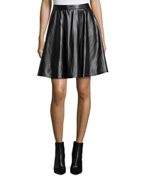 Neiman Marcus Perforated Faux Leather A Line Skirt Black